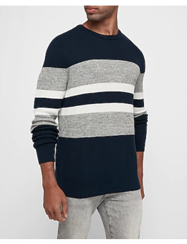 Striped Marled Crew Neck Sweater by Express