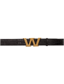Black Croc Letter Belt by Alexander Wang
