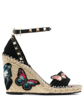 Valentino Rockstud Butterfly Wedge Sandals by Valentino