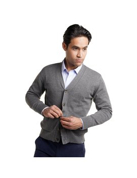 Cotton Cardigan Sweaters   Heather Grey by Peter Manning