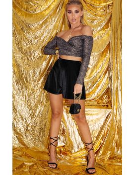 Gold Glitter Wrap Bardot Long Sleeve Top  by Prettylittlething