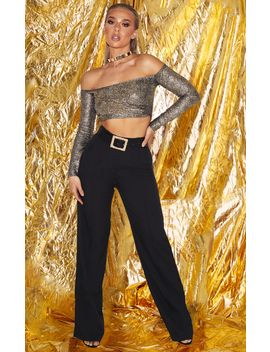 Gold Glitter Bardot Crop Top by Prettylittlething