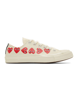 Off White Converse Edition Multiple Heart Chuck 70 Low Sneakers by Comme Des GarÇons Play