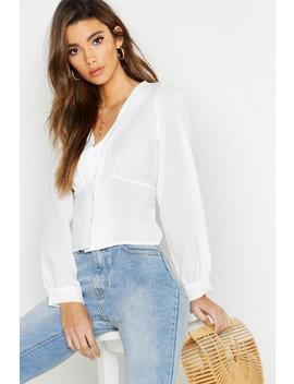 Woven Waist Detail Blouse by Boohoo