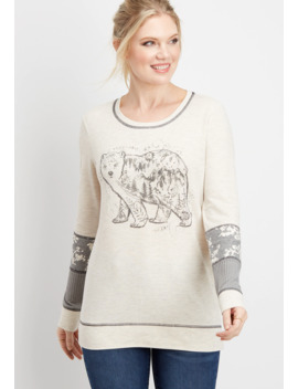 Long Sleeve Bear Graphic Pullover by Maurices