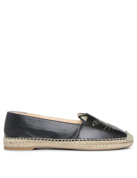 Black Nappa Leather Kitty Espadrilles by Charlotte Olympia