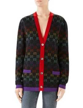 Multi Gg Long Sleeve Fine Wool Trim Detail Cardigan by Gucci