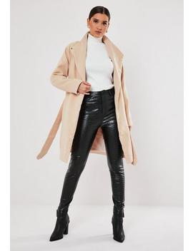 Grey Funnel Neck Belted Coat by Missguided