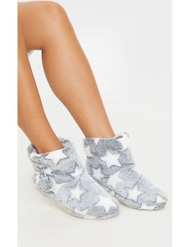 Grey Star Boot Slippers by Prettylittlething