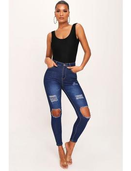 Indigo Blue High Waist Distressed Skinny Jeans by I Saw It First