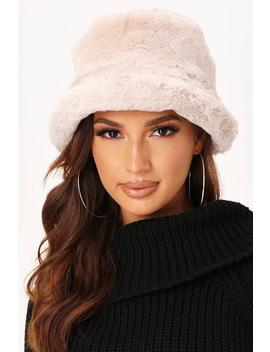 Beige Faux Fur Bucket Hat by I Saw It First