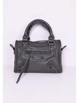 Faux Leather Studded Detail Mini Tote Bag Dark Grey by Lily Lulu Fashion
