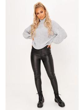 Black Western Belt Skinny Coated Jeans by I Saw It First