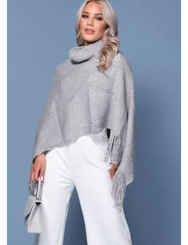 Roll Neck Knitted Sequin Frill Detail Cape Grey by Lily Lulu Fashion