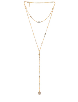 Cystal & Chain Lariat Necklace by Ettika