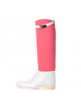 Hermes Toile Calfskin Kelly Jumping Boots 37.5 Blanc by Hermes