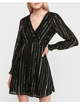 Metallic Stripe Smocked Fit & Flare Dress by Express