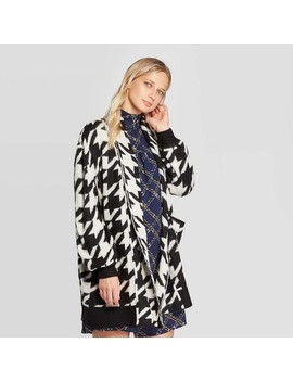 Women's Houndstooth Print Long Sleeve Cardigan   Who What Wear™ Black by Who What Wear