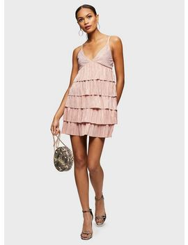 Pink Rara Strappy Plisse Dress by Miss Selfridge