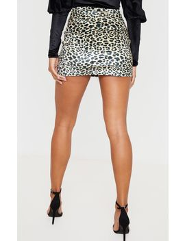 Tan Leopard Print Velvet Split Mini Skirt  by Prettylittlething