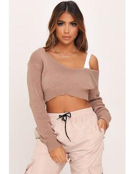 Mocha V Neck Crop Jumper by I Saw It First