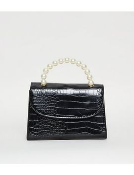 Black Faux Croc Top Handle Bag by New Look