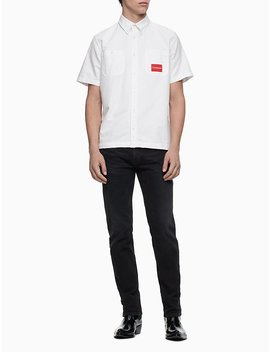 Solid Short Sleeve Oxford Shirt by Calvin Klein