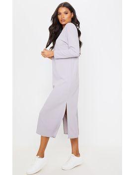 Grey Long Sleeve V Back Detail Oversized Midi Dress by Prettylittlething