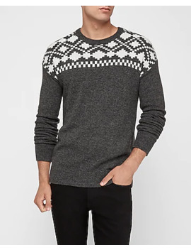 Wool Blend Fair Isle Crew Neck Sweater by Express
