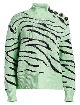 Layla Tiger Print Turtleneck Sweater by Olivia Rubin