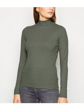 Khaki Ribbed Turtleneck T Shirt by New Look