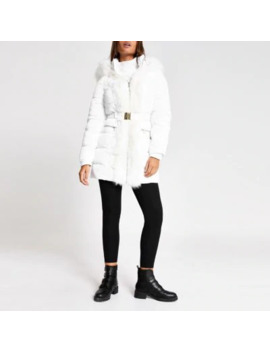 White Faux Fur Trim Padded Longline Jacket by River Island