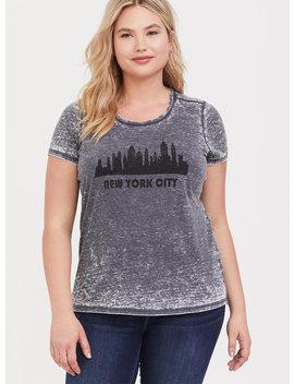 New York City Vintage Grey Burnout Crew Tee by Torrid