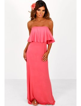 Summer Loving Coral Frill Bandeau Jersey Maxi Dress by Pink Boutique