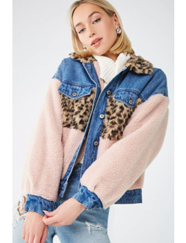 Faux Fur & Faux Shearling Denim Jacket by Forever 21