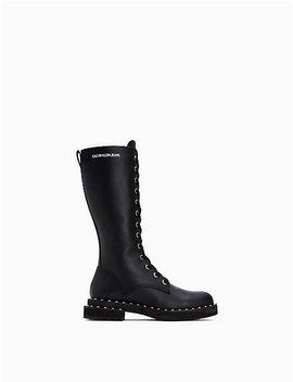 Netta Studded Zip Tall Combat Boot by Calvin Klein