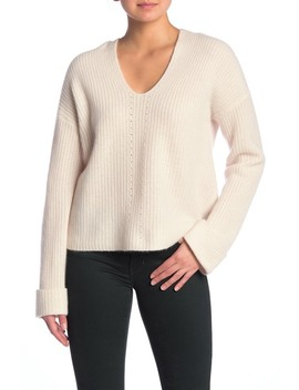 Eloise V Neck Hooded Cashmere Pullover by 360 Cashmere