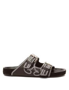 Lennyo Double Strap Topstitched Leather Slides by Isabel Marant