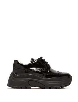 Oversized Brogue Leather Trainers by Prada