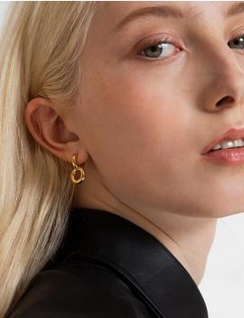 Gold Plated Double Hoop Earrings by Pixie Market