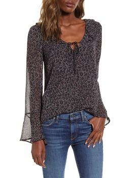Bell Sleeve Speckled Leopard Chiffon Top by Cupcakes And Cashmere
