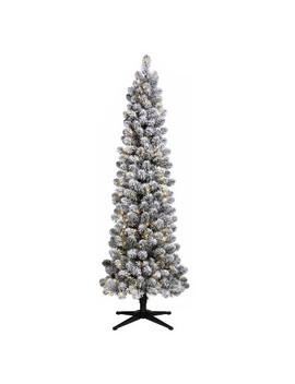 6ft Pre Lit Artificial Christmas Tree Flocked Slim Alberta Spruce Clear Lights   Wondershop™ by Wondershop