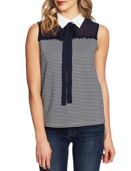 Houndstooth Bow Neck Collared Blouse by Ce Ce By Cynthia Steffe