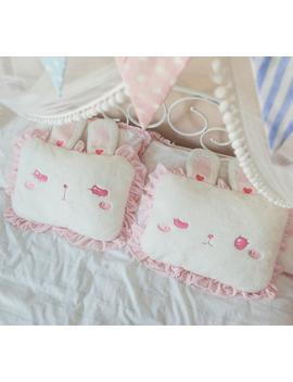 Pink Rabbit Square Pillow With Cute Bunny Ears Lolita Lace Pillow Princess Girl Room Bed Decor Sleeping Pillow Birthday Gift by Ali Express.Com