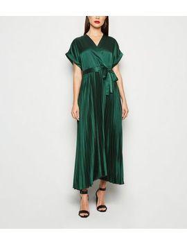 Dark Green Satin Pleated Midi Dress by New Look