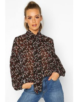 Woven Floral Pussy Bow Blouse by Boohoo
