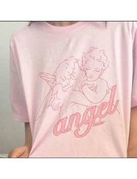 Hillbilly Fashion Kawaii Angel Printed Women T Shirts Summer Loose Over Size Casual Clothing Pink Cotton Top&Tees Vogue T Shirts by Ali Express.Com