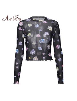Art Su Cartoon T Shirt Mesh Top Sexy Transparent Black Top Long Sleeve Crop Top See Through Harajuku Shirt Streetwear Asts21030 by Ali Express.Com