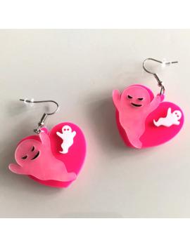 Lovely Pink Ghost Peach Heart Shape Acrylic Drop Earrings Fashion Cool Cute Halloween Dangle Earrings Women Trendy Brincos by Ali Express.Com