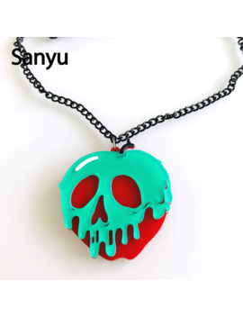 Halloween Creative Skull Acrylic Pendant Necklace Rotten Apple Cool Punk Fashion Acrylic Necklace Unisex Exaggerated Necklace by Ali Express.Com
